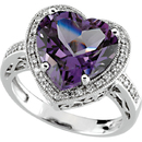 14KT White Gold Amethyst & 1/6 Carat Total Weight Diamond Ring