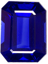 Vivid Rich Blue Sapphire Loose Gem in Emerald Cut, Real Fine Stone in 6.2 x 4.7 mm, 1.00 carats