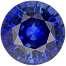 Fine Color Sapphire Loose Gem in Round Cut, Rich Vivid Blue, 6.7 mm, 1.5 carats