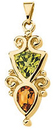 14KT Yellow Gold Peridot & Citrine Pendant