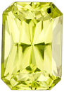 Dazzling Faceted Gem in Radiant Cut, Neon Lime Yellow Color, 8.7 x 6 mm, 2.27 carats