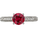 Stunning Round Solitaire Vivid 1 carat 6mm GEM Red Ruby Gemstone in Diamond Engagment Ring