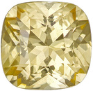 Unheated GIA Certified Pure Yellow Sapphire Loose Gem in Cushion Cut, Super Brilliant Gem in 6.7 x 6.5mm, 1.39 carats