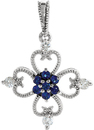 Sterling Silver Sapphire & 1/10 Carat Total Weight Diamond Pendant