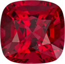 Open Red Spinel Loose Cushion Cut Gem in Open Pure Red Color 6.1 mm, 1.19 Carats