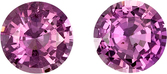 Beautiful Pink Sapphire Matched Pair in Round Cut, 5.9 mm, 1.72 carats