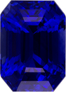 Faceted Loose Sapphire Gem in Vivid Blue Color, Emerald Cut, 8.1 x 5.8 mm, 2.49 carats