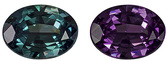 Extraordinary 100% Color Change Alexandrite Genuine Brazilian Gemstone Pair - Rich Burgundy Eggplant to Teal Blue Green, Oval Cut, 7.2 x 5.3 mm, 0.87 carats - With GIA Certificate