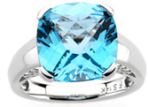 14KT White Gold 12x12 Cushion Swiss Blue Topaz Ring