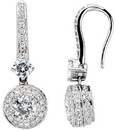 14KT White Gold 4.5mm Round Forever Classic Moissanite & 1/2 CTW Diamond Halo-Style Earrings