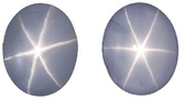 Bluish Gray Ceylon Star Matched Sapphires - Strong Stars, 9 x 7.3 mm, Oval Cut, 8.83 carats