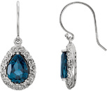 Wire Back Sculptural Style Earrings Mounting for Pear Shape Centergems Sized 10.00 x 7.00 mm - Customize Metal or Gem Type