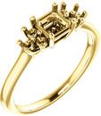 Ring Mounting for Asscher Shape Centergem Sized 5.00 mm to 7.00 mm - Triple Side Accents - Customize Metal, Accents or Gem Type