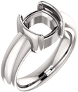 Chunky Half Bezel Set Solitaire Ring Mounting for Cushion Shape Centergem Sized 5.00 mm to 8.00 mm - Customize Metal, Accents or Gem Type