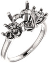 Ring Mounting for Heart Shape Centergem Sized 5.00 mm to 10.00 mm - Triple Side Accents - Customize Metal, Accents or Gem Type