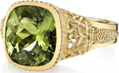 Intricate 18kt Yellow Gold Bezel Handmade Ring With Large 5.59 ct Fine Gem Chrysoberyl Center Stone - SOLD