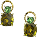 Super Stylish Lever Back 18kt Yellow Gold Earrings With Cushion Cut Tsavorite Garnets & Green Tourmaline