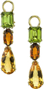 Lovely Leverback Multi Gemstone Dangle Earrings in 18kt Yellow Gold With Peridot & Citrine Gems