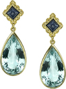 Ornate 18kt Yellow Gold Post Back Dangle Earrings With Bezel Set Pear Aquamarines & Princess Blue Sapphire Gems