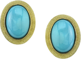Italian Made Oval Turquoise Gemstone Button Earrings With Rope Style 18kt Yellow Gold Detail - SOLD