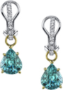 Elegant 2-Tone 18kt Gold Dangle Earrings With 10.27ct Pear Shape Blue Zircon Gems - Diamond Accents
