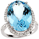 14KT White Gold Sky Blue Topaz & 1/2 Carat Total Weight Diamond Ring