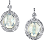 Intricately Designed 18kt White Gold Oval Moonstone Dangle Earrings With Diamond Accents