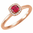 14KT Rose Gold Chatham Created Ruby & .04 Carat Total Weight Diamond Halo-Style Ring