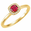 14KT Yellow Gold Chatham Created Ruby & .04 Carat Total Weight Diamond Halo-Style Ring