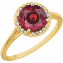 14KT Yellow Gold Chatham Created Ruby and .05Carat Total Weight Diamond Ring