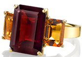 Gorgeous Colors in Handmade 9.6 carat Garnet Ring With Emerald Cut Citrine Side Gems in 18kt Yellow Gold