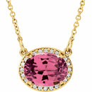 14KT Yellow Gold Pink Tourmaline and .05Carat Total Weight 16 1/2 Inch Diamond Necklace