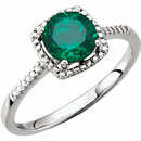 Sterling Silver Created Emerald & .01 Carat Total Weight Diamond Ring