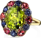 Andrew Sarosi Classic Flower Style Oval 6.7 carat Peridot Ring With Blue Sapphire & Garnet Petals in 18kt Yellow Gold - Handmade