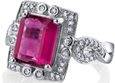 Simply Breathtaking Hand Crafted 18kt White Gold Ring With Bold 3.1ct Emerald Pink Tourmaline & Ornate Diamond Accents
