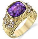 Intricate Hand Carved 18kt Gold Solitaire Ring With 6.92ct Cushion Cut GEM Purple Sapphire Gemstone