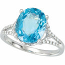 Swiss Blue Topaz & 1/6 Carat Total Weight Diamond Ring