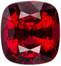 Optimum Red Color Spinel Loose Gemstone in Cushion Cut, Open Rich Red Color in 6.3 x 5.9 mm, 1.35 carats