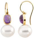 14KT Yellow Gold 8x6mm Cabochon Amethyst & 11mm South Sea Cultured Circle Pearl Earrings