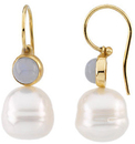 14KT Yellow Gold 6mm Chalcedony Semi-set Earrings for Pearls