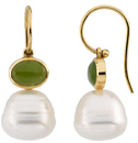 14KT Yellow Gold 7x5mm Nephrite Jade Semi-set Earrings for Pearls