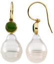 14KT White Gold South Sea Cultured Pearl & Nephrite Jade Earrings