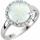 14KT White Gold Opal & .07 Carat Total Weight Diamond Ring