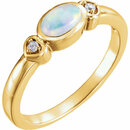 14KT Yellow Gold Opal & .03 Carat Total Weight Diamond Accented Ring