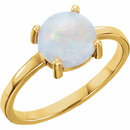 14KT Yellow Gold 7mm Round Opal Cabochon Ring