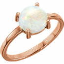 14KT Rose Gold 7mm Round Opal Cabochon Ring