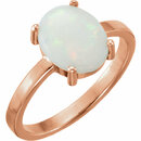 14KT Rose Gold 9x7mm Oval Opal Cabochon Ring