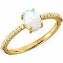 14KT Yellow Gold 7x5mm Oval Cabochon Chatham Created Opal & 1/10 Carat Total Weight Diamond Ring