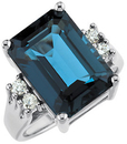 14KT White Gold London Blue Topaz & 1/6 Carat Total Weight Diamond Ring