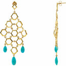 18K Vermeil Turquoise Chandelier Earrings with Box